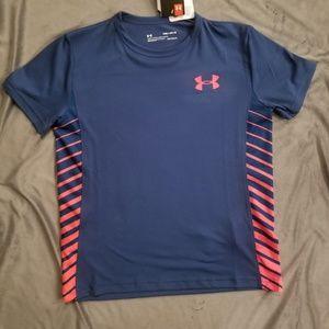 Under Armour Blue / Orange Florescent Shirt Size M